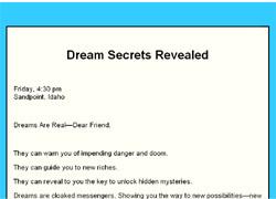 Dream Secrets Revealed