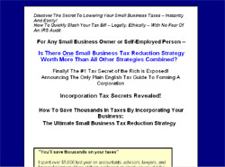 Incorporation Tax Secrets Revealed:The Ultimate Small Business Tax Reduction Strategy