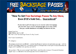 Free Backstage Passes
