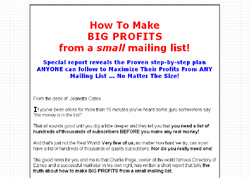How To Make BIG PROFITS from a small mailing list!