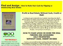 Find and Assign - How to Make Fast Cash by Flipping or Wholesaling Real Estate real estate investing